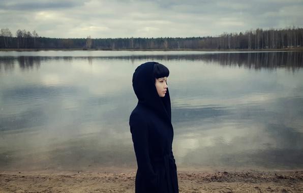 Картинка девушка, озеро, galaxy, samsung, Maxim Guselnikov, Карина Ким, Feeling Blue, Mobile Photography