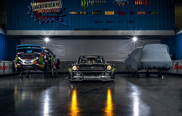 Картинка Mustang, Ford, Monster, Front, 1965, RTR, Studio, Block, Ken, Gymkhana, Energy, Hoonicorn, SEVEN, 845 hp