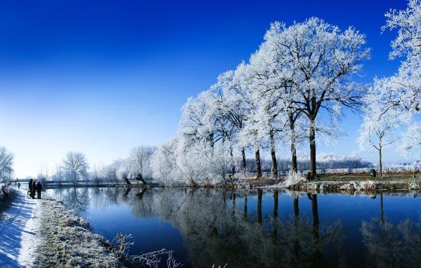 Картинка зима, снег, природа, река, люди