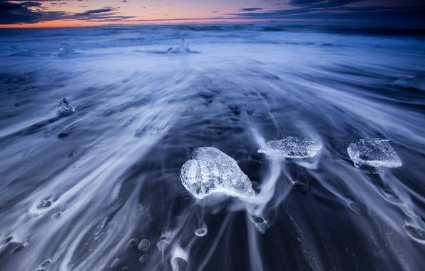 Картинка море, природа, берег, лёд, потоки, исландия