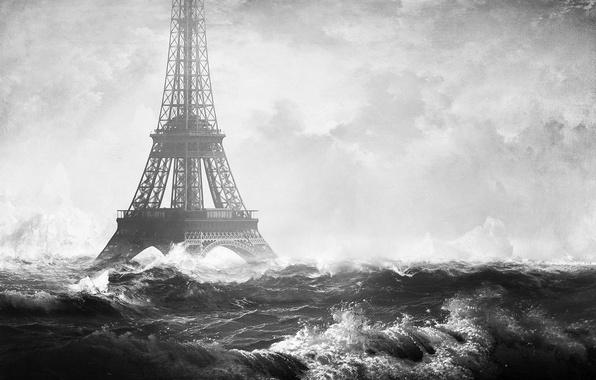 Картинка море, волны, город, Франция, Париж, Эйфелева Башня, Paris, France, Eiffel Tower, photo manipulation