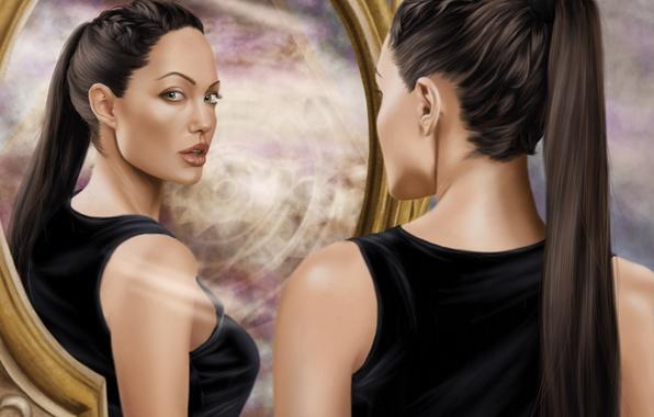 Картинка взгляд, девушка, лицо, актриса, зеркало, Angelina Jolie, арт, Tomb Raider, Lara Croft