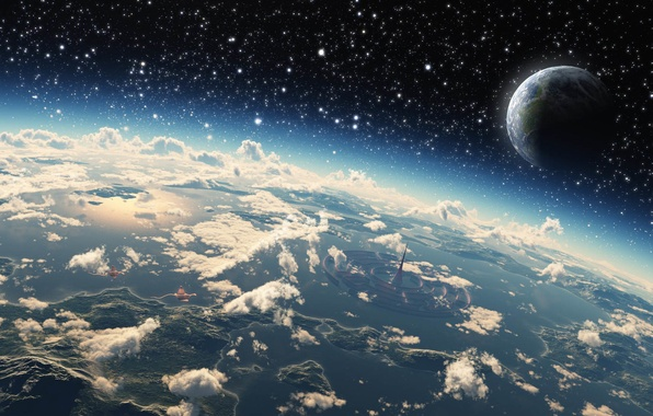 Картинка Облака, Океан, Море, Остров, Планета, Космос, Свет, Земля, Здания, Light, Города, Звёзды, Stars, Space, Earth, ...