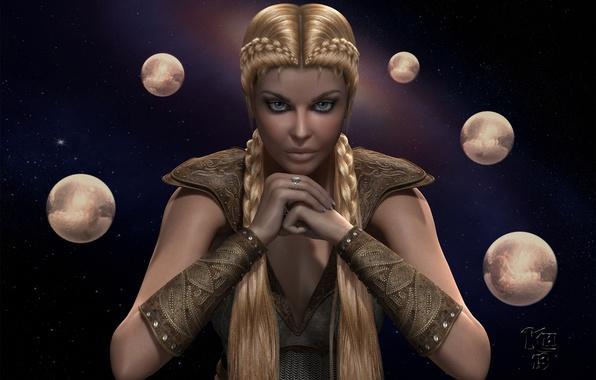 Картинка девушка, звезды, планеты, руки, арт, косы