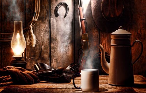 Картинка лампа, шляпа, кружка, револьвер, винчестер, винтовка, western, вестерн, снаряжение, амуниция, кольт, winchester, rifle, дикий запад, …