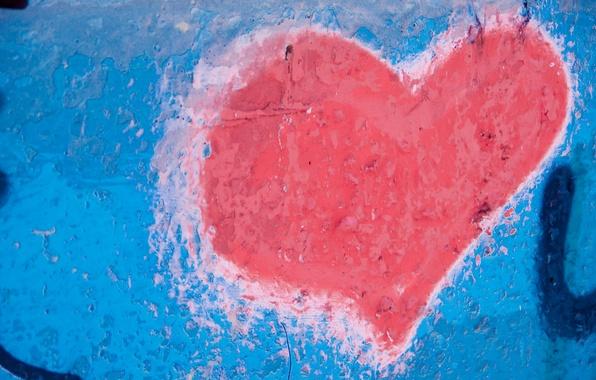 Картинка стена, сердце, краска, цвет, текстура