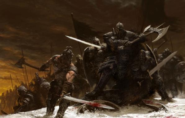 Картинка зима, снег, оружие, меч, битва, топор, воины, adrian smith