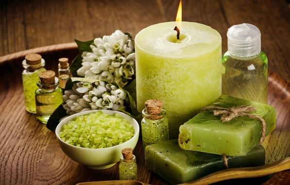 Картинка цветы, масло, свечи, мыло, relax, flowers, спа, still life, candles, соль, spa, salt, wellness