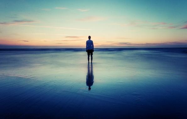 Картинка sky, sea, alone, horizon