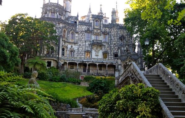 Картинка трава, деревья, сад, лестница, Португалия, архитектура, кусты, дворец, Sintra, Quinta da Regaleira