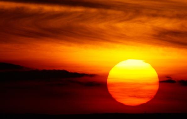 Картинка облака, закат, Солнце