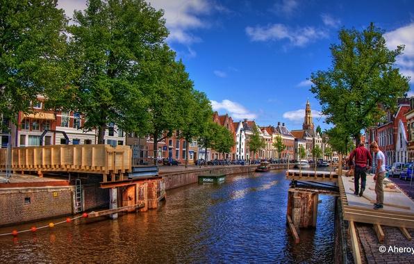 Картинка мост, река, HDR, Нидерланды, строительство, набережная, Netherlands, Groningen, Гронинген