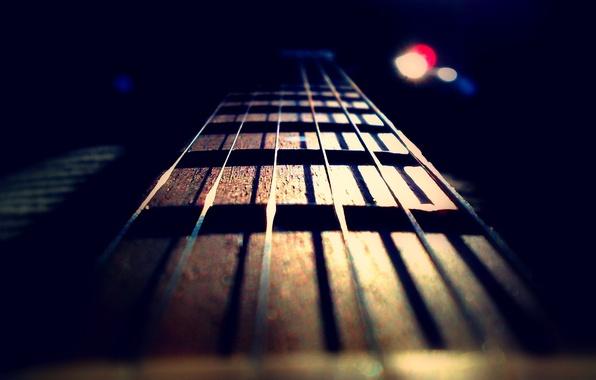 Картинка музыка, гитара, струны, гриф