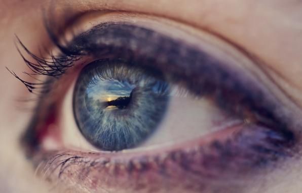 Картинка синий, глаз, ресницы, голубой, макияж, зрачок