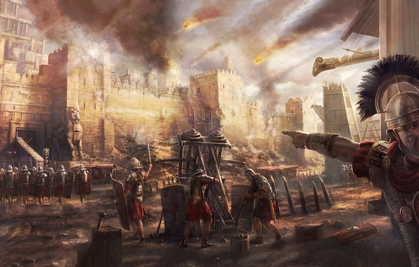 Картинка Egypt, Walls, Battle, Roman Army, Legio, Centurion, Bombard, Siege, Manpower, Legionaries, Ballista