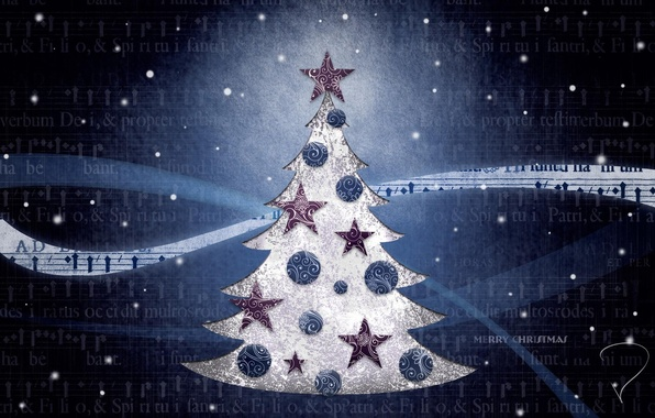 Картинка синий, фон, настроение, праздник, обои, игрушки, елка, рождество, картинка, год, новый