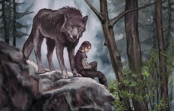 Картинка лес, листья, деревья, животное, волк, хищник, арт, живопись, Game of Thrones, Arya Stark, Nymeria