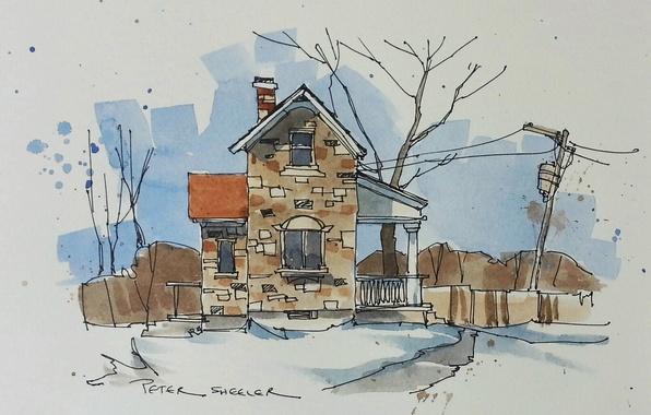 Картинка город, дом, рисунок, акварель