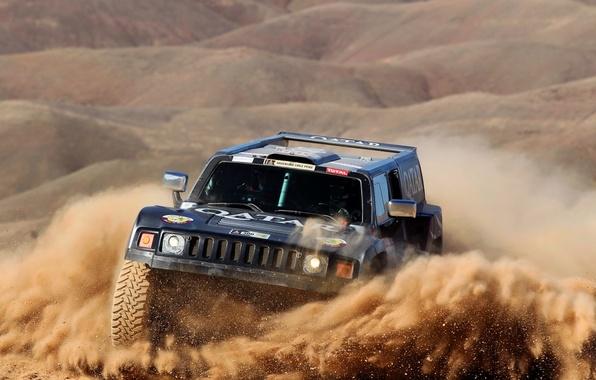 Картинка Песок, Черный, Спорт, Гонка, Rally, Dakar, Внедорожник, Передок, Hammer