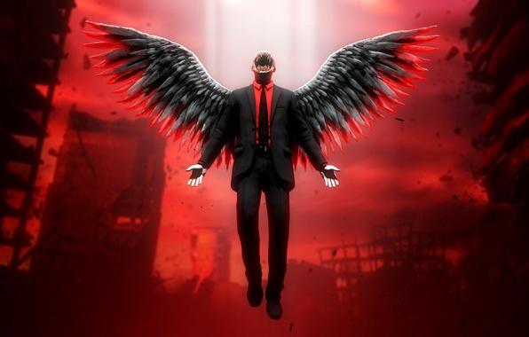 Картинка город, апокалипсис, крылья, монстр, ангел, демон, зло, руины, падший