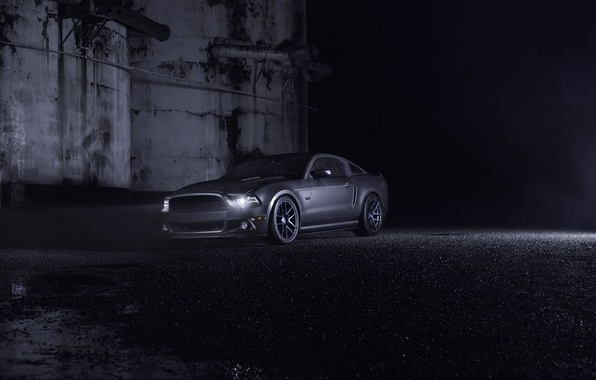 Картинка Mustang, Ford, Dark, Muscle, Car, Front, Grey, Wheels, Velgen, Ligth, Nigth