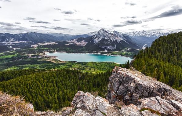 Картинка лес, горы, озеро, Канада, Alberta, Canada, Barrier Lake