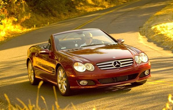 Картинка дорога, авто, машины, девушки, тачки, руль, мерседес, mercedes sl 550 widescreen