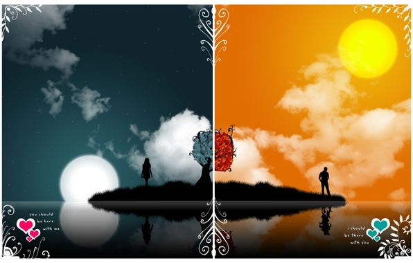 Картинка любовь, ночь, Вектор, день, противоположности