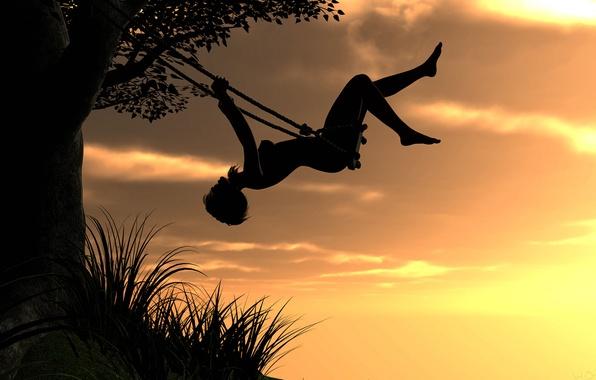 Картинка небо, девушка, закат, рендеринг, качели, дерево