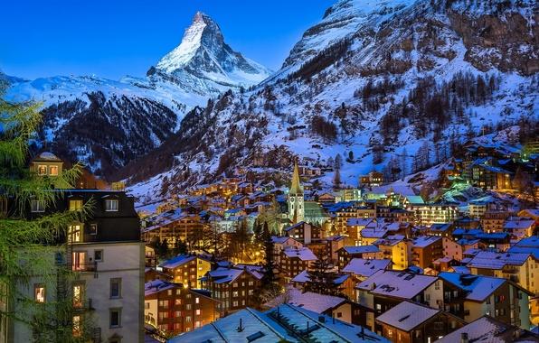 Картинка горы, здания, гора, дома, Швейцария, деревня, Альпы, вершина, панорама, Switzerland, Церматт, гора Маттерхорн, Swiss Alps, …