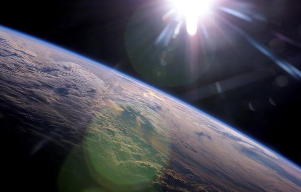 Картинка облака, лучи, Солнце, Земля
