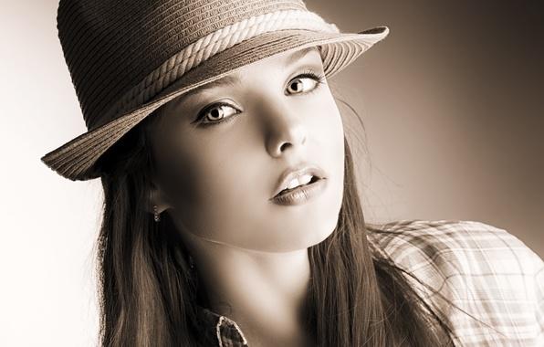 Картинка взгляд, девушка, лицо, фото, волосы, шляпа, рубашка