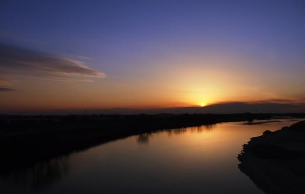 Картинка море, вода, солнце, деревья, пейзаж, закат, природа, отражение, река, фон, widescreen, обои, листва, волна, вечер, …