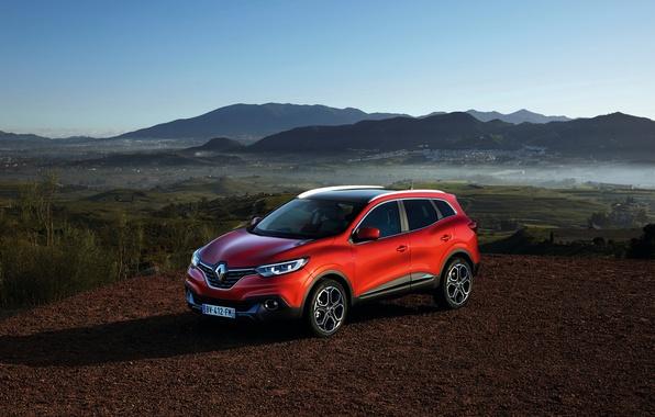 Картинка фото, Красный, Renault, Автомобиль, 2015, Kadjar