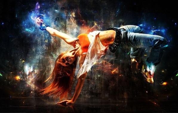 Картинка девушка, радость, поза, танец