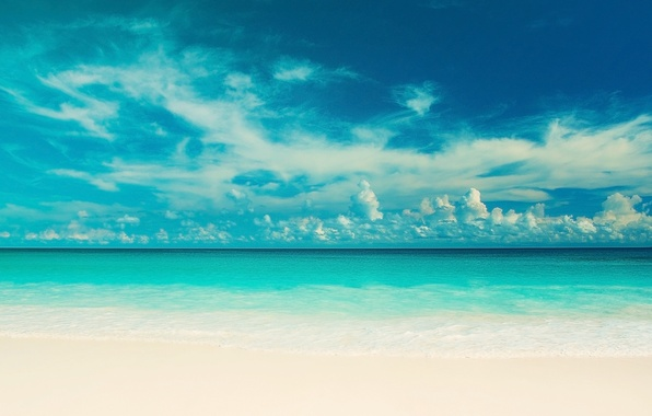 Картинка море, пляж, небо, вода, облака, пейзаж, природа, река, фон, widescreen, обои, голубое, волна, красота, горизонт, …