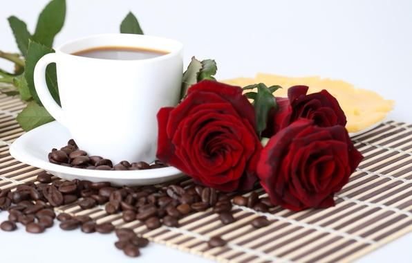 Картинка кофе, розы, зерна, сыр, тарелка, чашка, красные, блюдце