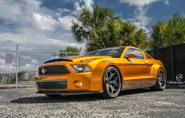 Картинка Mustang, Ford, Shelby, GT500, muscle car, front, orange, Super Snake, Ultimate Auto, Vellano Wheels, wide …