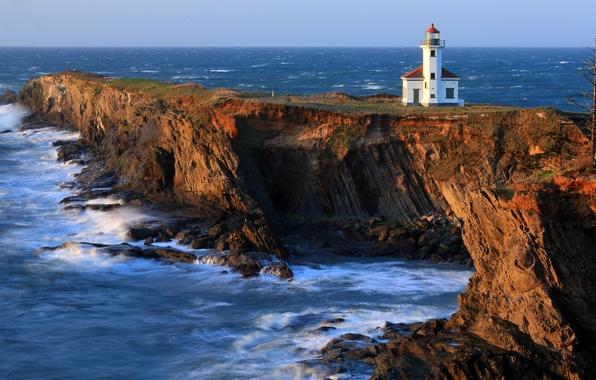 Картинка скалы, побережье, маяк, Тихий океан, Cape Arago Lighthouse