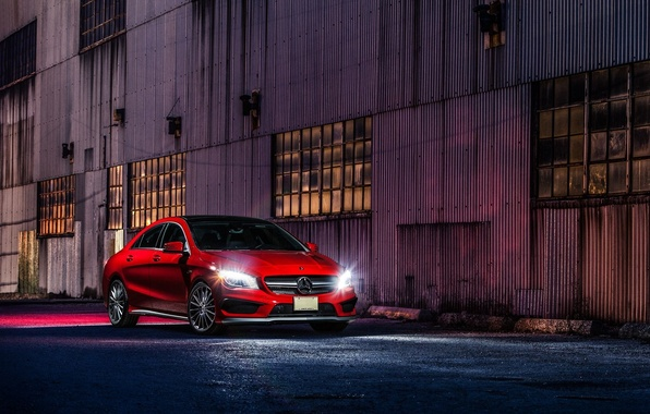 Картинка Mercedes-Benz, Red, Car, Front, AMG, CLA45, Ligth, Nigth