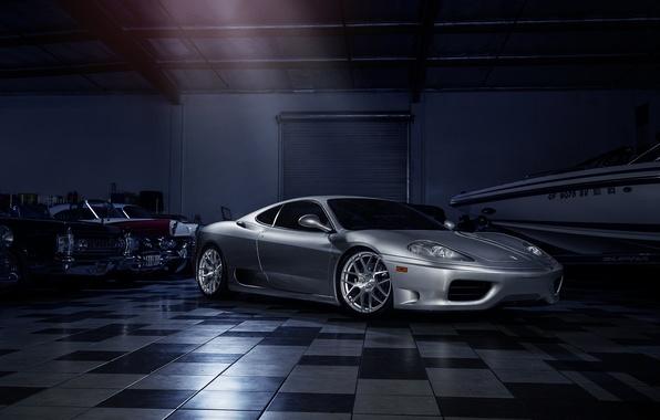 Картинка Ferrari, 360, Front, Modena, Supercar, Silver, Wheels, Avant, Garde
