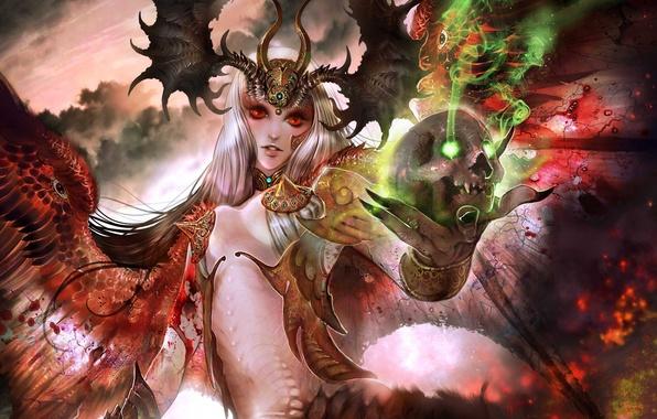 Картинка девушка, магия, череп, крылья, арт, красные глаза, демоница