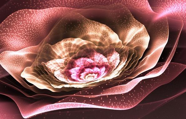 Картинка цветок, сияние, пыльца, лепестки, арт, фрактал