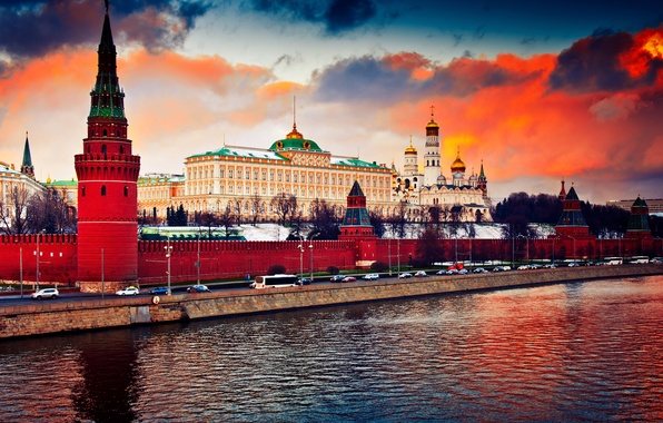 Фото обои city, река, Москва, Кремль, Россия, Russia, Moscow, Kremlin