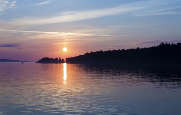 Картинка море, небо, солнце, облака, деревья, закат, город, берег, вечер, порт, Швеция, Балтийское