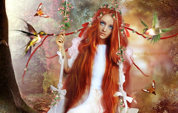 Фото обои цветы, взгляд, голубые глаза, арт, рыжая, деревья, лицо, волосы, птицы, девушка, бабочки, длинные, качели