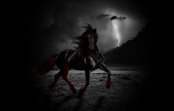 Картинка свобода, ночь, тучи, конь, ветер, молния