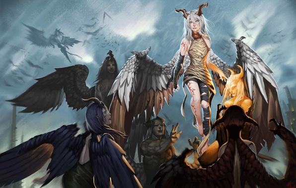 Картинка девушки, крылья, фэнтези, арт, рога, парни, демоны, шрамы