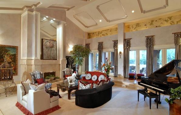 Картинка цветок, цветы, дизайн, стиль, стол, комната, диван, роза, интерьер, картина, кресло, подушки, рояль, зал, пианино, …