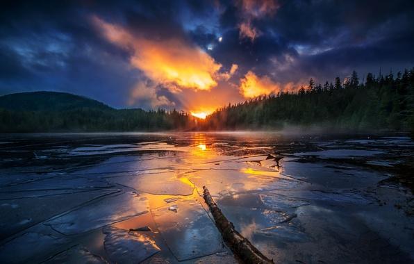 Картинка лес, небо, закат, горы, озеро, отражение